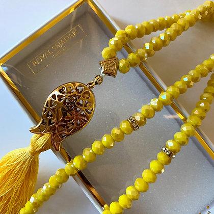 Yellow Crystal Prayer Beads, Tasbih, Islamic Gift, Free Gift BOX
