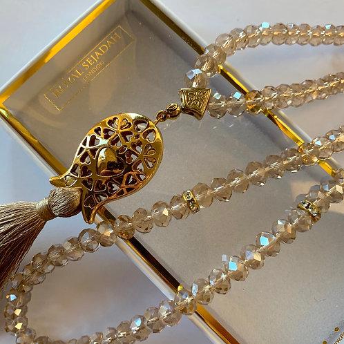 Light Brown Crystal Prayer Beads, Tasbih, Islamic Gift, Free Gift BOX
