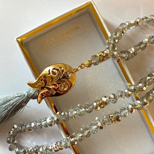 Silver&Nude Crystal Prayer Beads, Tasbih, Islamic Gift, Free Gift BOX