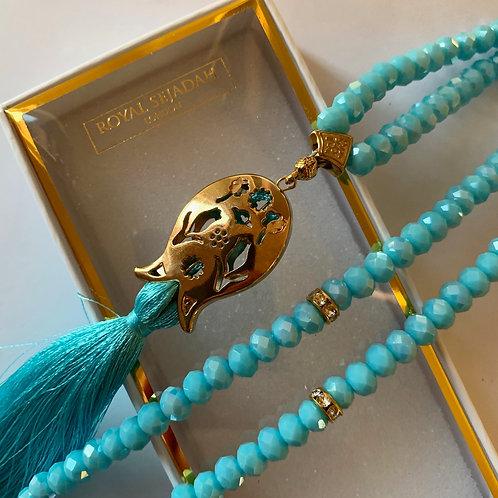 Turquise Crystal Prayer Beads, Tasbih, Islamic Gift, Free Gift BOX