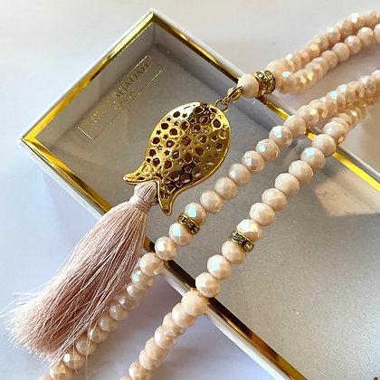 Cream Crystal Prayer Beads, Tasbih, Islamic Gift, Free Gift BOX
