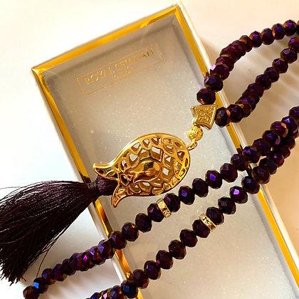 Purple Crystal Prayer Beads, Tasbih, Islamic Gift, Free Gift BOX