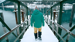 Following iceswimmer on a metal dock during winter. Shot by Tjark Lienke.