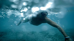 Iceswimmer underwater. Shot by Tjark Lienke for BMW..