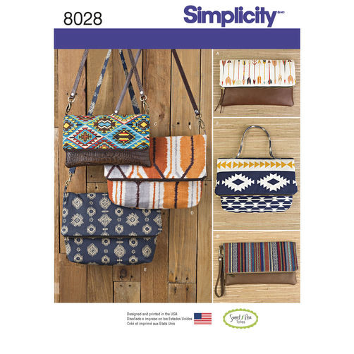 Simplicity Pattern 8028 Clutch, Wristlet and Purse in Two Sizes Image