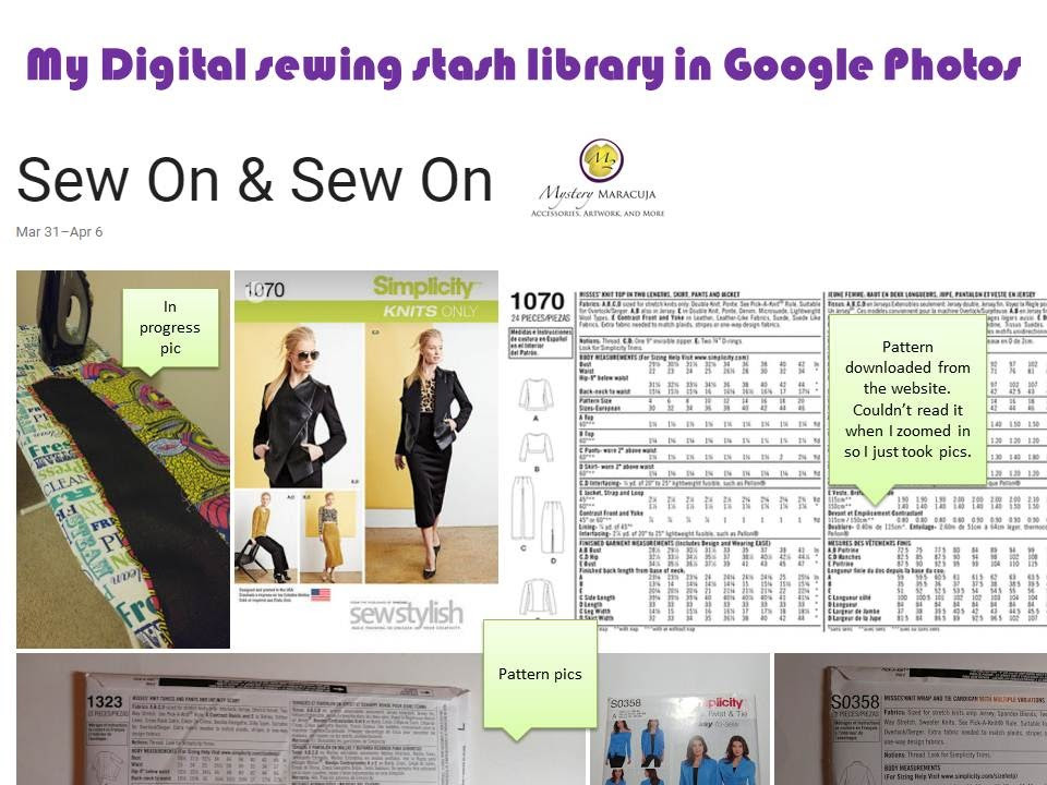 Digital sewing stash library in Google photos