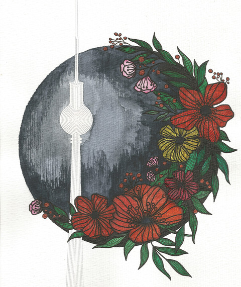 """Berlin TV Tower Floral"""