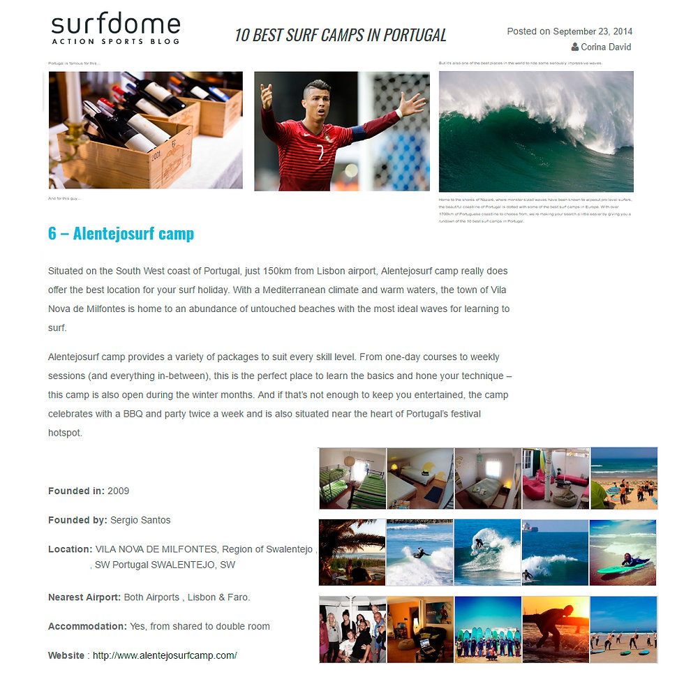 Rescognized as one of best Surf Camps In Portugal