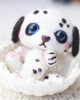 felting kit dog white with black spots.j