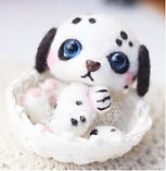 felting kit dog white with black spots.j
