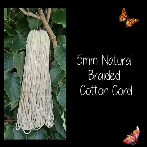 5mm Natural Braided Cotton Cord