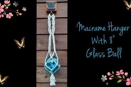 """Macrame Hanger with 8"""" Glass Ball Instructional Video & Supplies"""