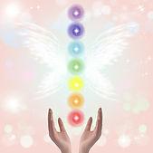 Canva - Healing Hands and seven chakras.
