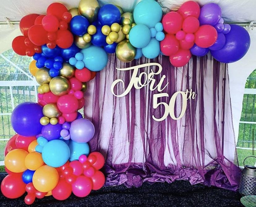 Organic Balloon Garland for 50th Birthday