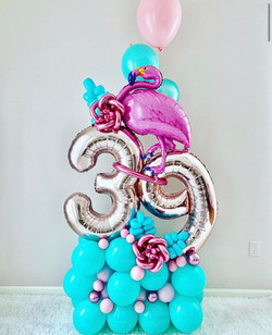 Flamingo Balloon Arrangement for 39th Birthday
