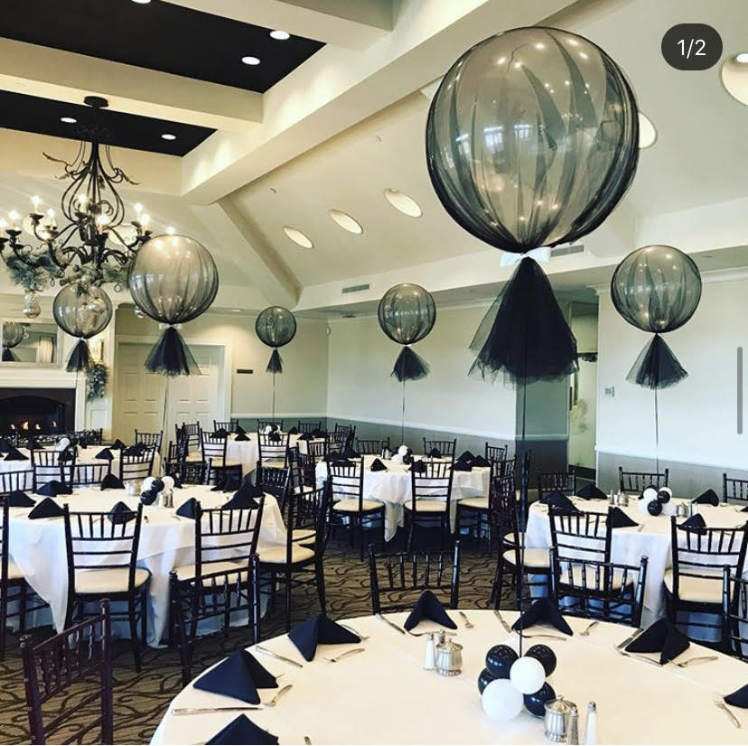 Black and White Party Balloons Centerpieces. Tulle Balloons