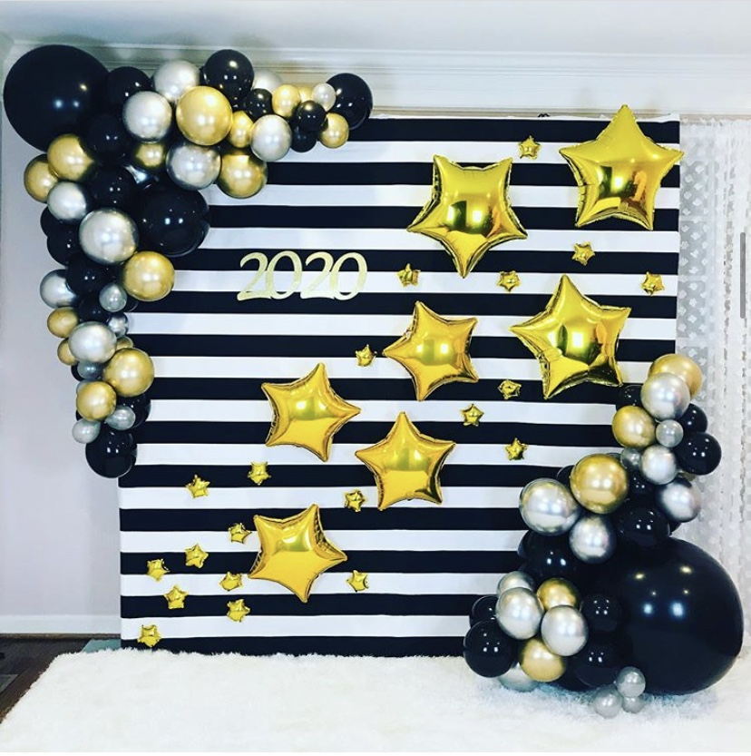 New Year Party Balloons Backdrop