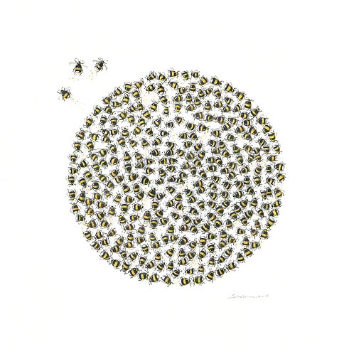 """Bumble Bee Print 22""""x 22"""""""