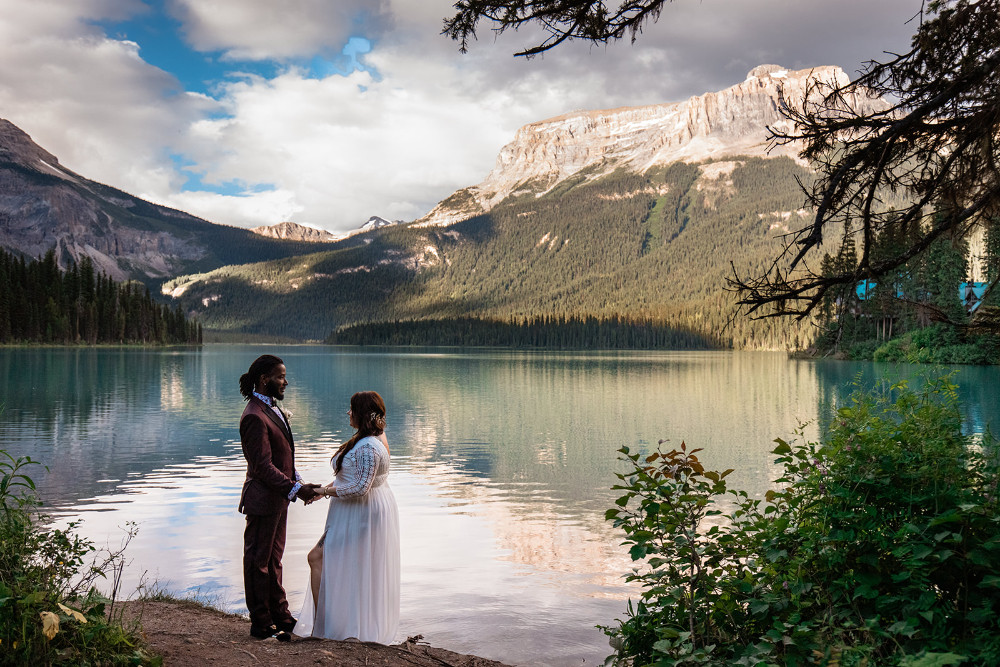 Emerald Lake Lodge wedding, bride and groom at emerald lake lodge