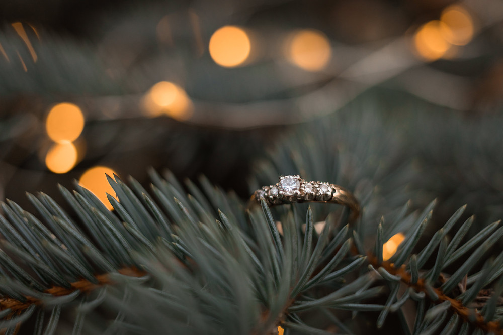 winter engagement ring in pine tree
