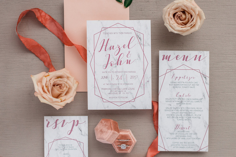 Modern marble and pink wedding invitations with RSVP card
