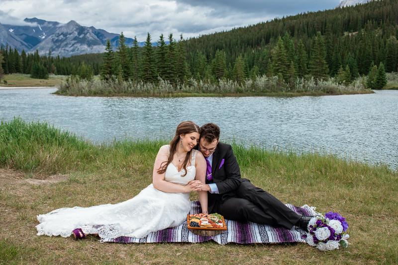 mountain elopement picnic next to a lake