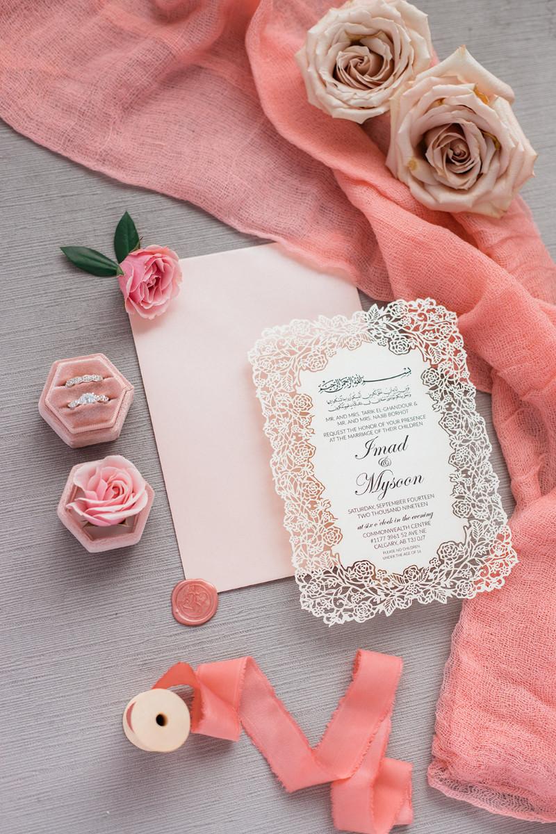 Custom wedding invitations - laser cut pink wedding invite
