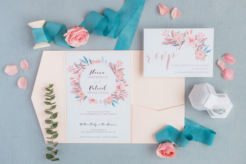 Calgary wedding invitations - flat lay