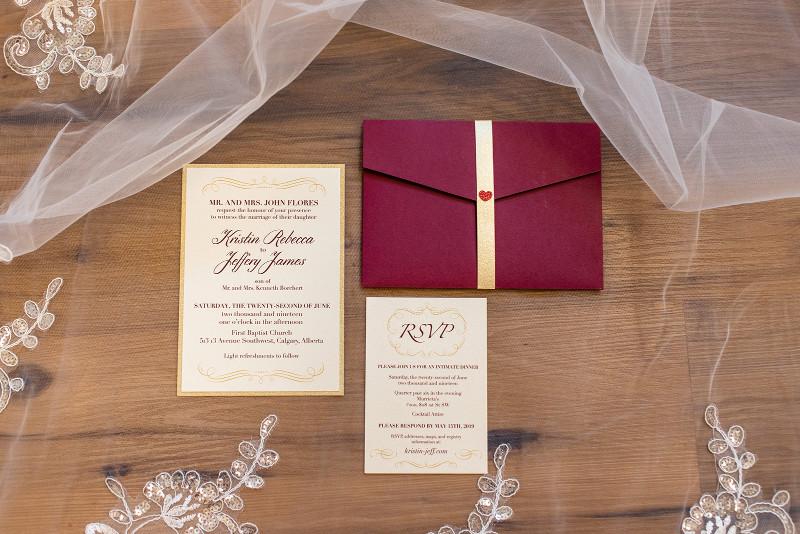 RSVP Wedding Invitations in Burgundy