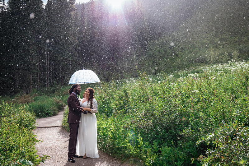 snowy wedding in Alberta Rocky Mountains in the spring