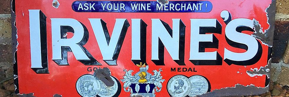 Irvine's Wines Gold Medal Original Enamel Sign