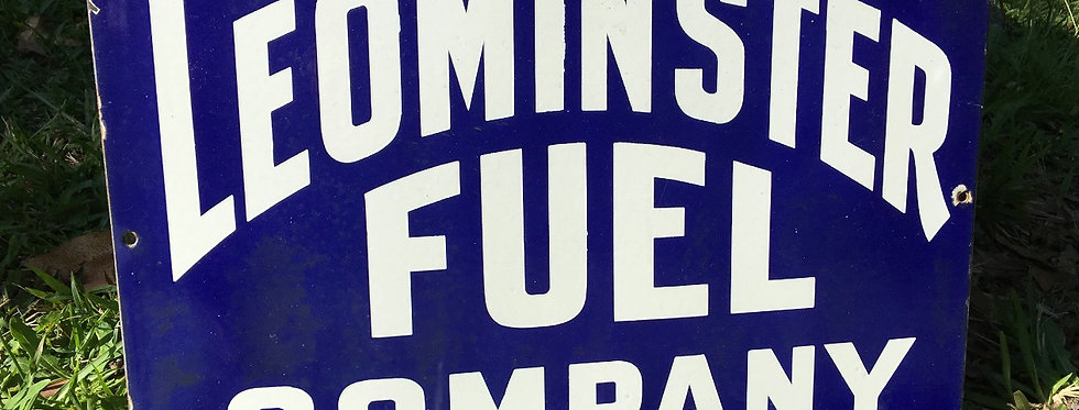 Leominster Fuel Company Original Enamel Sign Wide