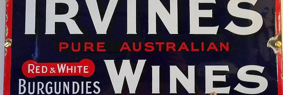 Irvine's Wine Enamel Sign