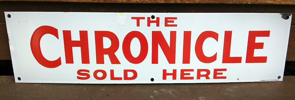 The Chronicle Newspaper Enamel Sign