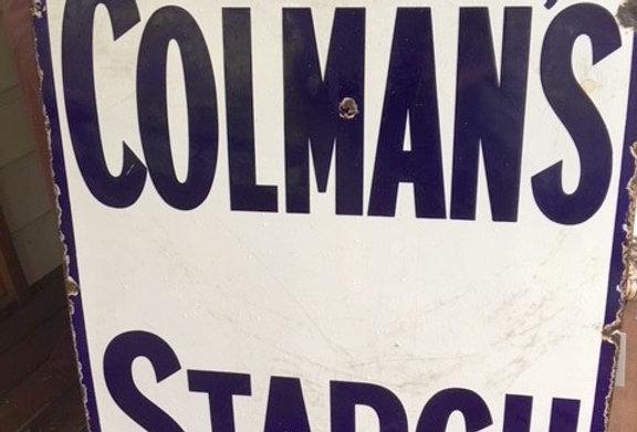 Coleman's Starch Original Enamel Sign Front