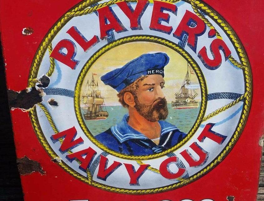 Pictorial Players Navy Cut Original Enamel Sign