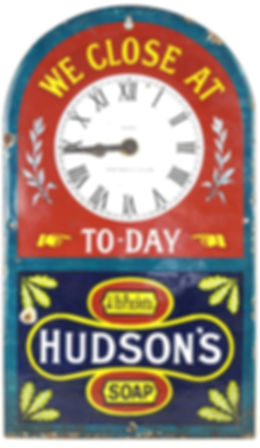A Hudson's Soap vinage enamel sign.