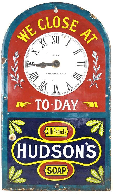 A Hudson's Soap vinage enamel sign.