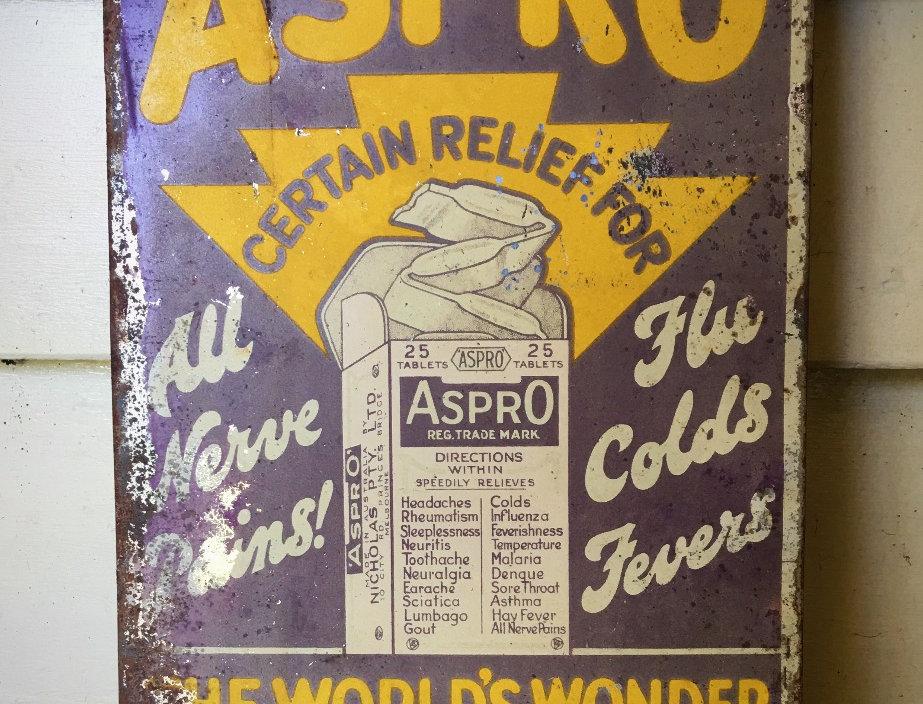 Aspro Medicine Vintage Tin Sign