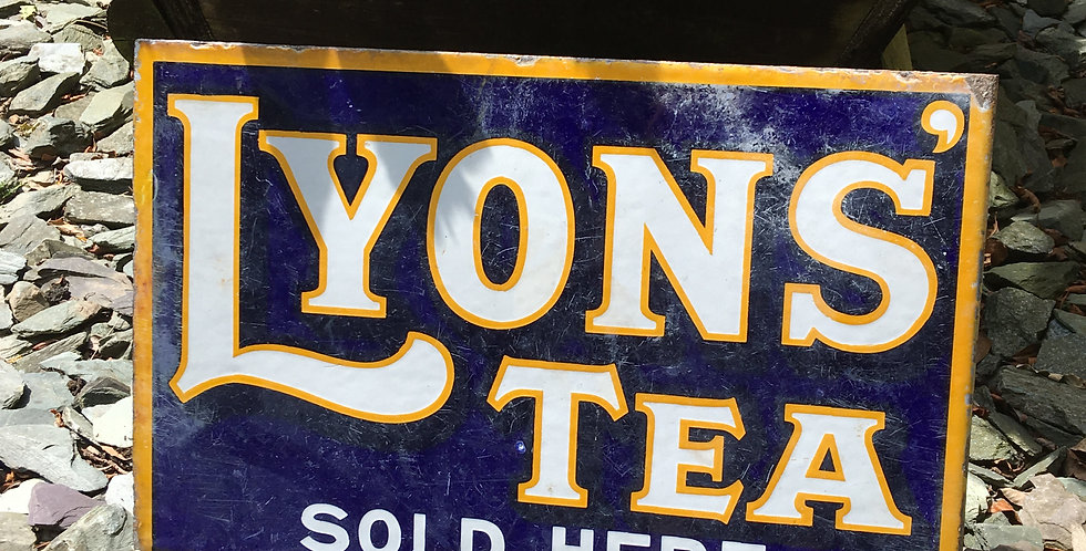 Lyon's Tea Sold Here Double-Sided Enamel Sign