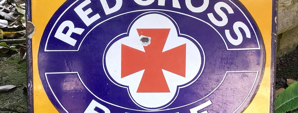Red Cross Blue Enamel Sign