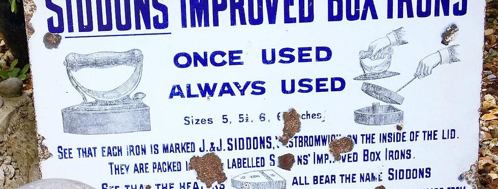 Siddons Box Irons Enamel Sign