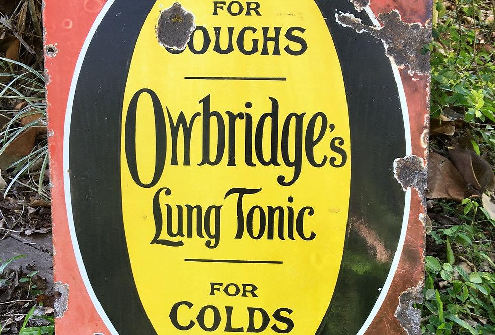 Owbridges Lung Tonic Original Enamel Sign Front