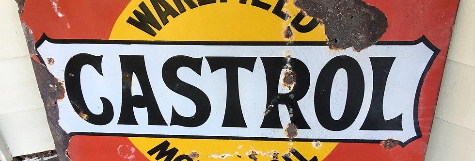 Wakefield Castrol Motoroil Original Enamel Sign Front