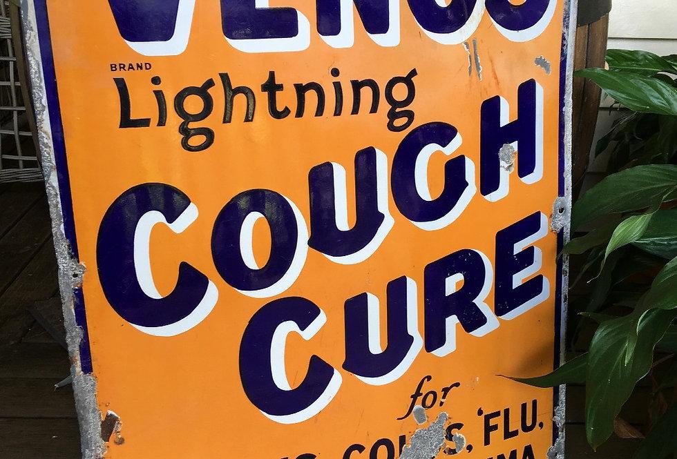 Venos Cough Cure Old Enamel Sign