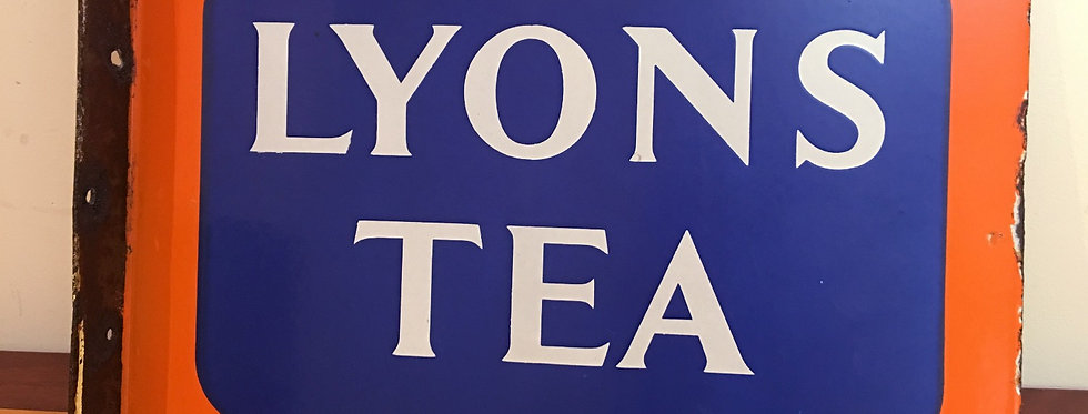 Lyon's Tea Flanged Double-Sided Enamel SignFront