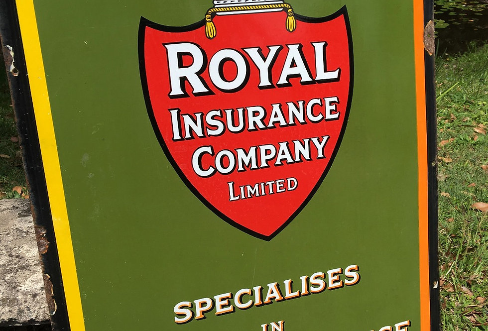 Antique Royal Insurance Mint Enamel Sign
