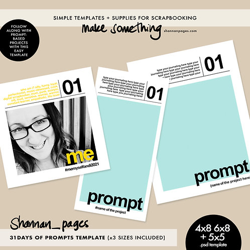 31 Days of Prompts Template (4x8, 6x8 and 5x5 sizes included - psd template)