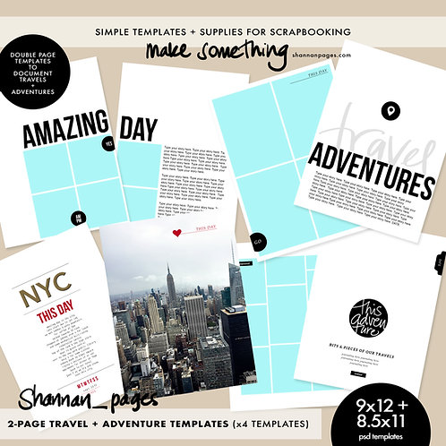 Travel & Adventure 2-Page Spread Templates (4) 8.5x11 and 9x12 size