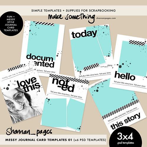 Messy 3x4 Journal Card Templates (x6 PSD templates)